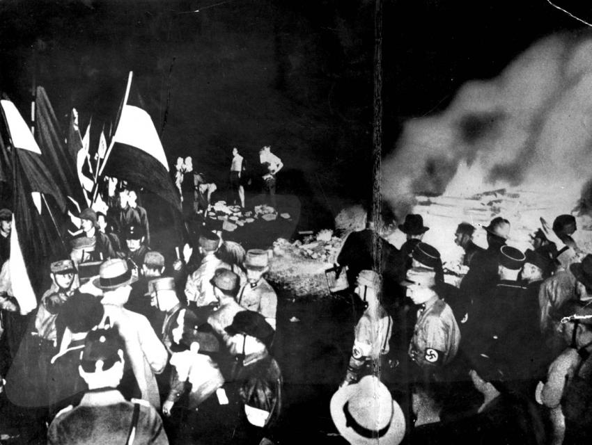 A public burning of books in Berlin, Germany, May 10, 1933