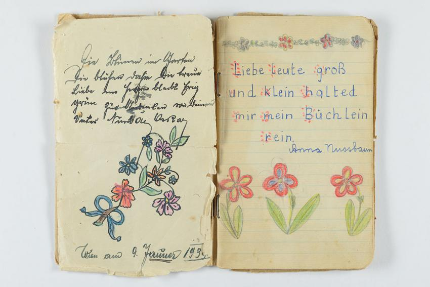 Autograph book that Anna Nussbaum took with her when she was sent on a Kindertransport from Vienna, Austria to Ireland