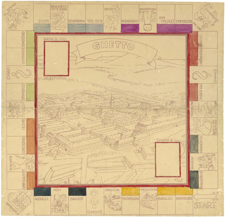 Monopoly game made in the graphics workshop in the Theresienstadt ghetto in 1943