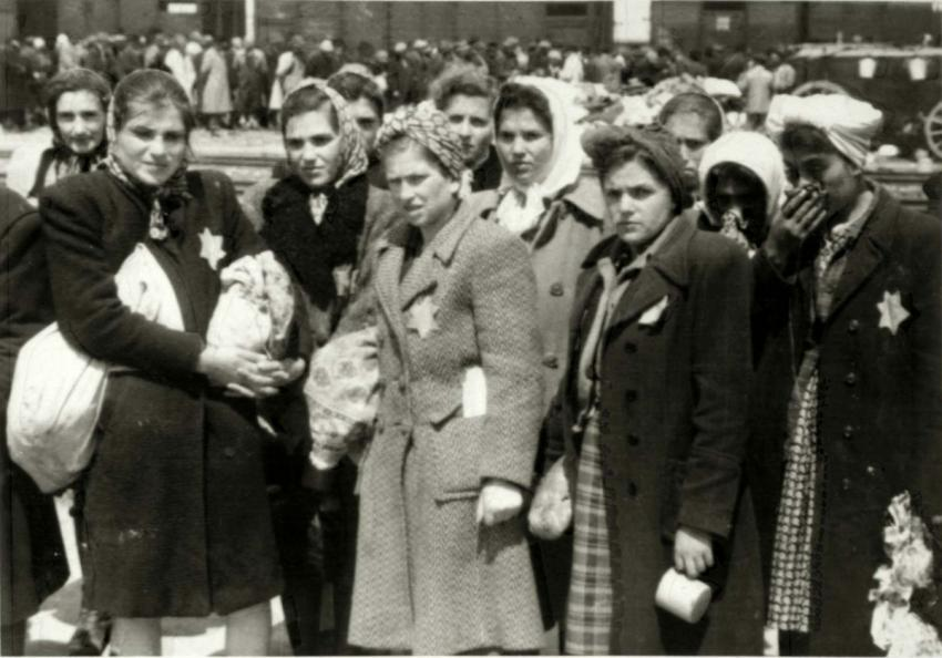 Birkenau, Poland, Women pronounced fit for labor standing on the platform after a selection, May, 1944