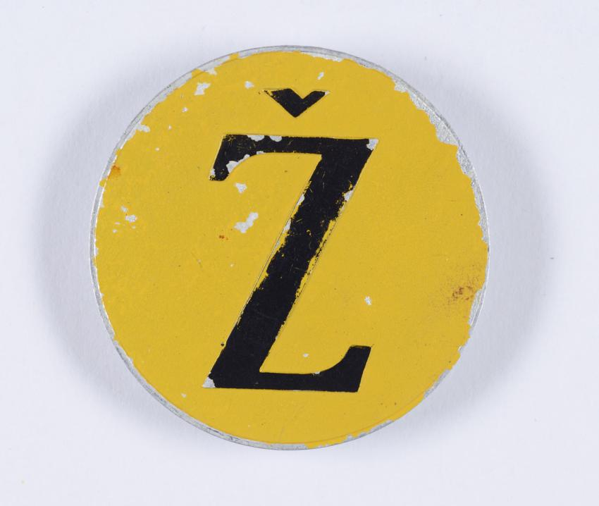 Jewish badge that belonged to Duro Marberger from Zagreb.
