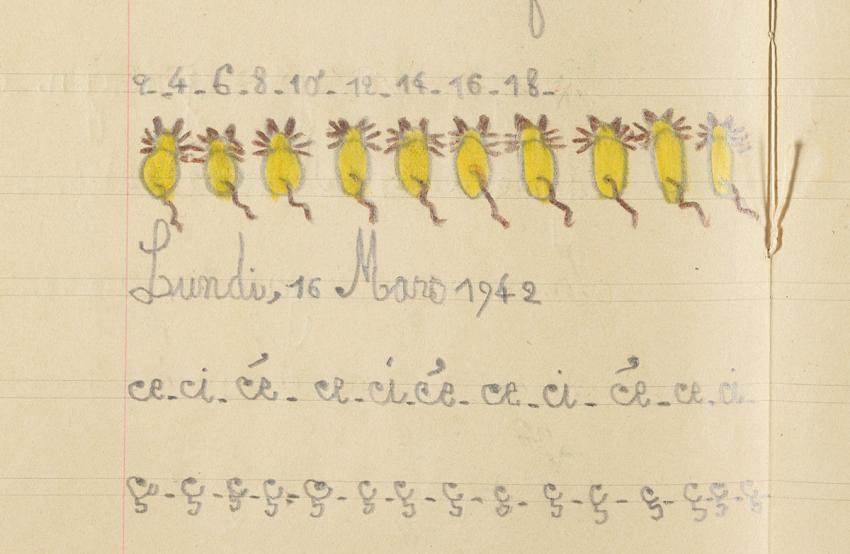 Page in notebook used by Clairette Vigder