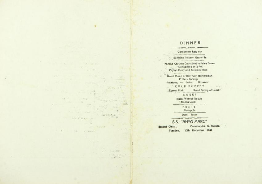 Menus from the Japanese ship that the Jaglom family sailed on from Europe after the outbreak of war thanks to the visa issued by Chiune Sempo Sugihara, Japanese consul in Kaunas, Lithuania