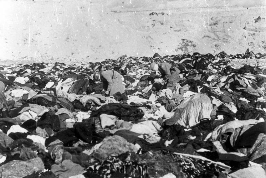 Babi Yar, Ukraine, October 1941, German Police Searching through the Clothing of Murdered Jews