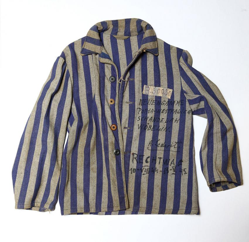 Prison shirt of Arthur Rechtwag from Belgium, inscribed with the camps he was imprisoned in and the dates of his incarceration