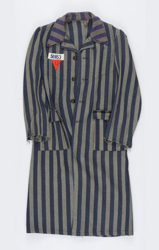 Prison coat that Ehud Walter took from the storerooms in the Buchenwald camp after liberation