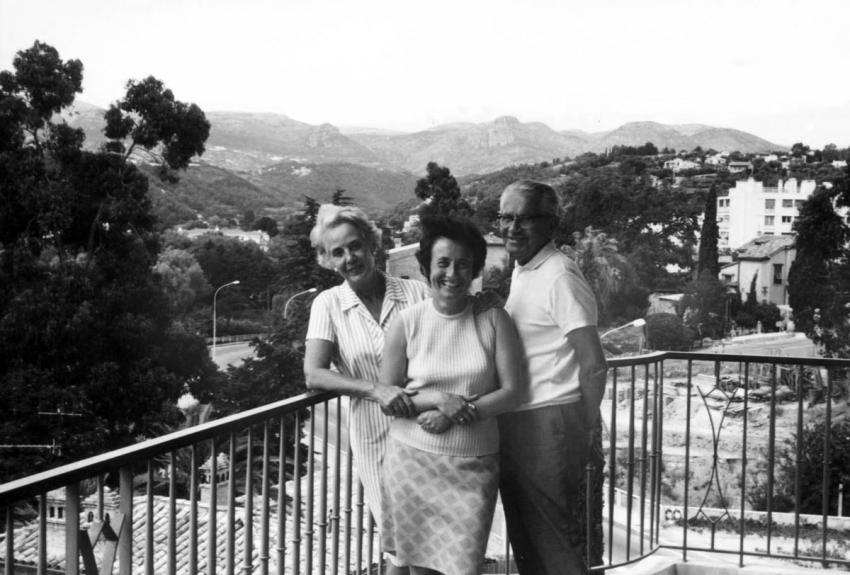 Ruth Gat (Inga Pollack) with the Roth family who saved her life in World War II, Cagnes, France,1970