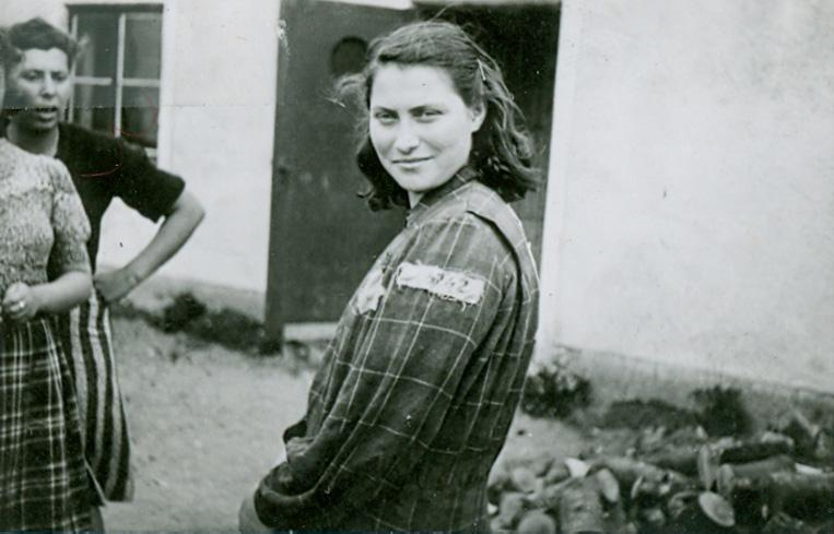 Genia Dvorkin, wearing her prison garb from the labor camps in Estonia and Germany
