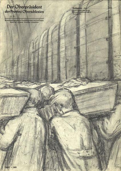 Zinovii Tolkatchev, The Burial Day of the Victims Auschwitz, 1945, Pencil on paper