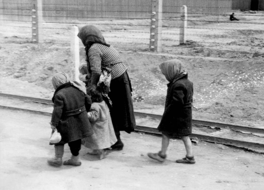 "Auschwitz-Birkenau, women and children deemed ""unfit for work"" being led unknowingly to Gas Chamber #4"