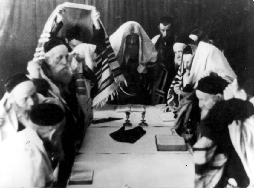 Jews at prayer on Yom Kippur (Day of Atonement) in Krakow, Poland, October 1940