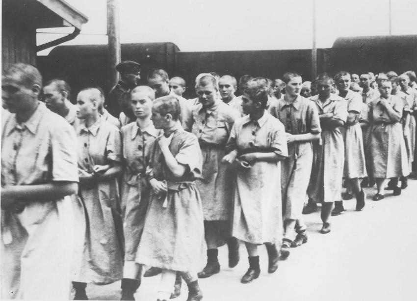 Birkenau, Poland, May, 1944, Women deemed fit for work after the camp absorption process