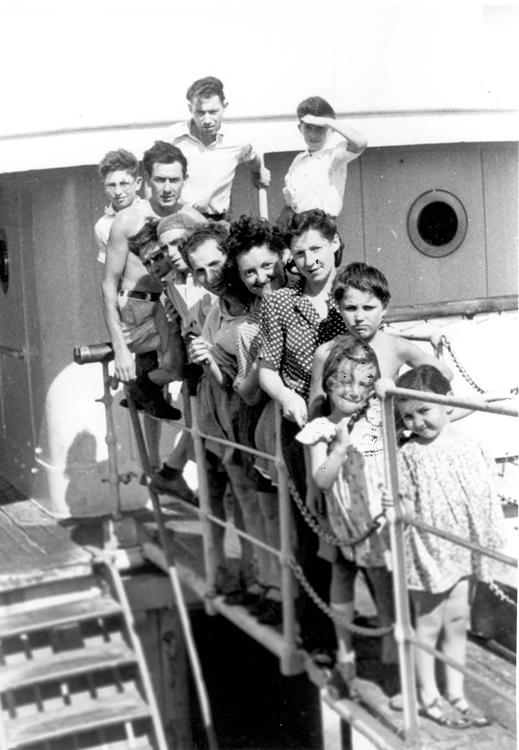 Families Posing on the Gangplank of a Ship at the City Harbor, Marseille, France, 1947