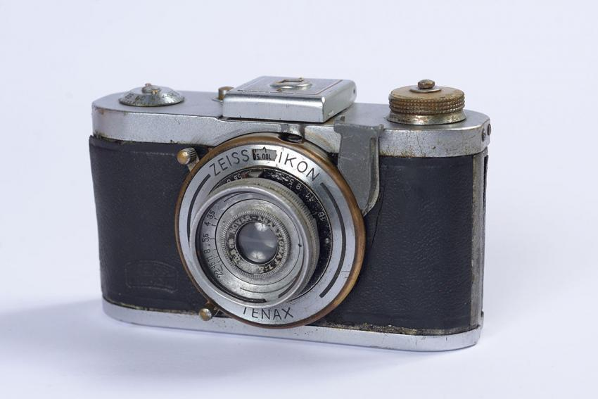 The Zeiss Ikon Tenax camera taken by Grisha Plat from the house of a German soldier near the Bad Reichenhall DP camp