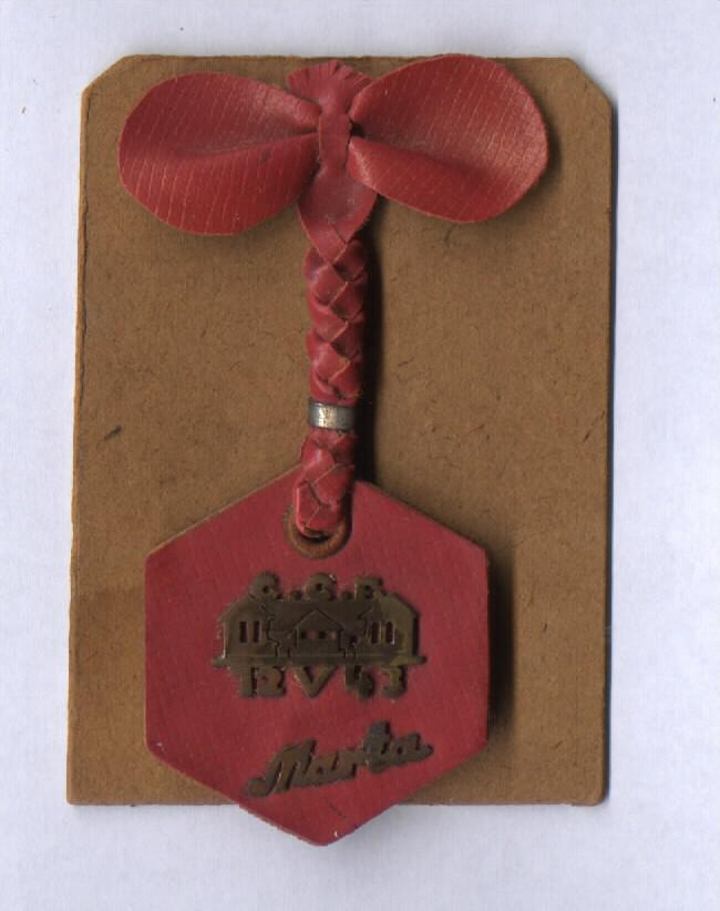 Brooch that  Berta Waldner made for her daughter Marta's 22nd birthday. Marta never received her gift; she was murdered several months before she reached the age of 22