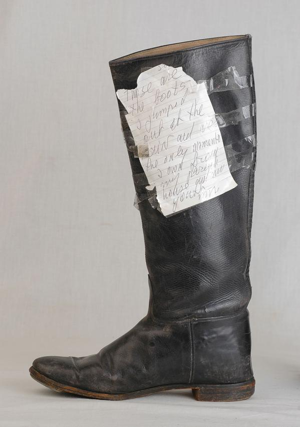 """On donating the boots to the artifacts collection of Yad Vashem, Mira attached a note: """"These are the boots out of the train and are the only memento I own from my parents' house and my youth."""""""