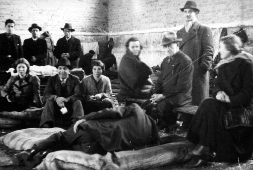 German Jews of Polish origin who have been deported by the Germans to the border town of Zbąszyń, Poland, November 1938