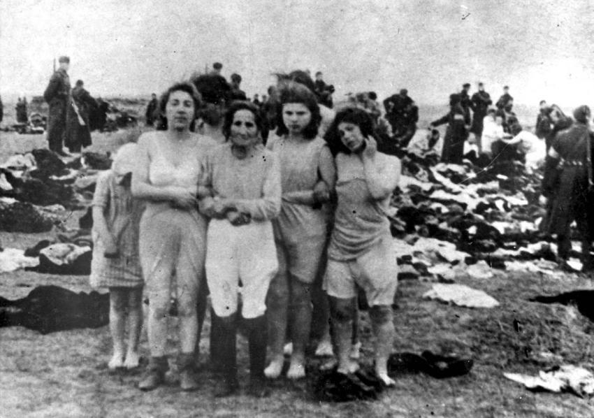Jewish women before their execution in Skede, Latvia, December 15-17, 1941