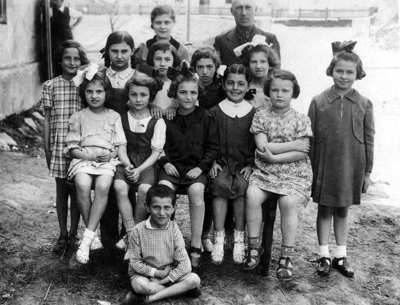 First grade students at the Jewish Tarbut School, Zborow, 1939