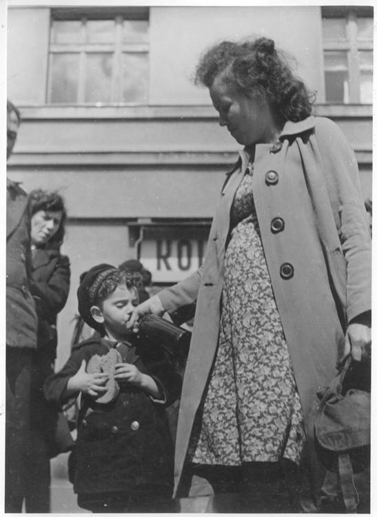 Nachod, Czechoslovakia, The Bericha - a Woman Giving Her Son a Bottle, Waiting for a Train to Western Europe, 1946