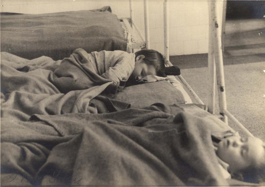 The Bericha - Children Sleeping in Beds, Possibly in a Hospital, Location Unknown