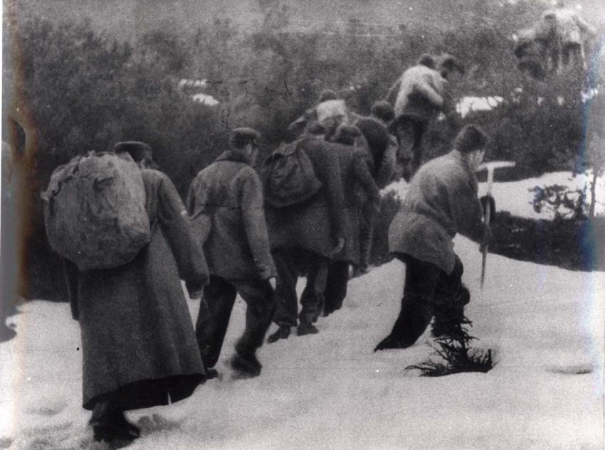 A march of the Bericha organization in the snow, after the war