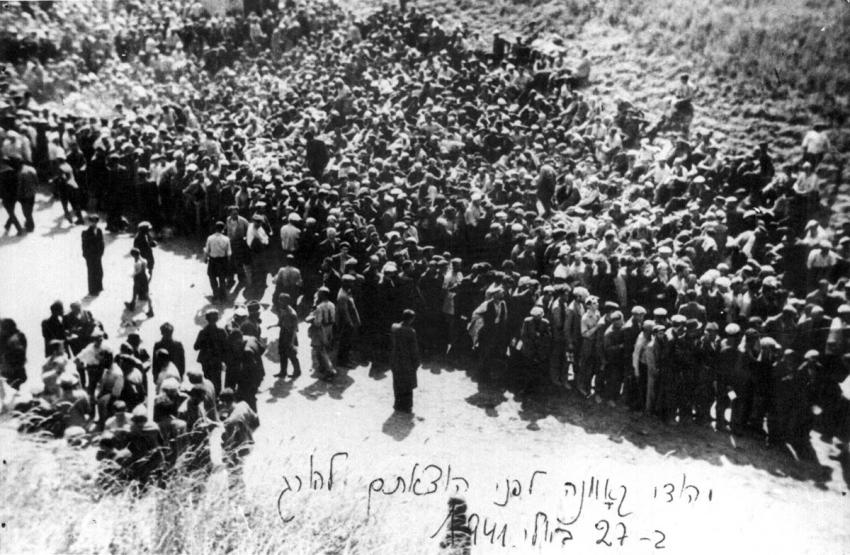 Jews from Kovno, Lithuania, before their execution, being led by Lithuanian militia to the Seventh Fort, July 27, 1941