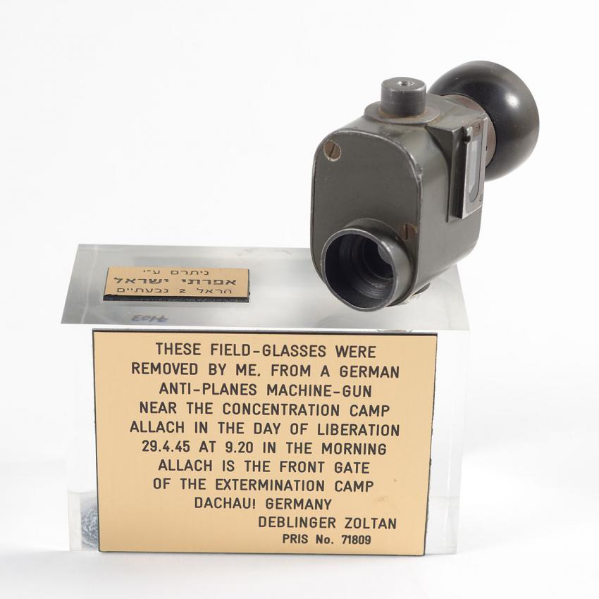 Binoculars that Zoltan Deblinger took from an abandoned German Army cannon on the day he was liberated from the Allach camp