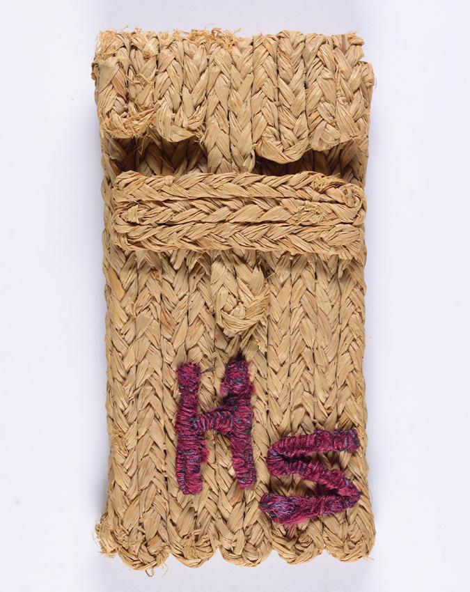 Raffia glasses case that Irma Schwartz made in the Gurs detainment camp, and sent to her son Heinz in Switzerland on the occasion of his Bar Mitzvah