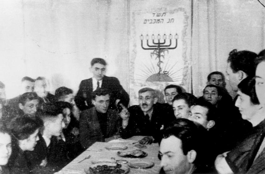 A Hanukkah celebration in the Lodz Ghetto, Poland, December 1943