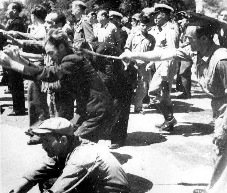 Public humiliation of the Jews of Salonika, 11 July 1942, when 9,000 Jewish males of ages of 18-45 were forcibly assembled at Liberty Square in the city's central square where they were beaten and terrorized