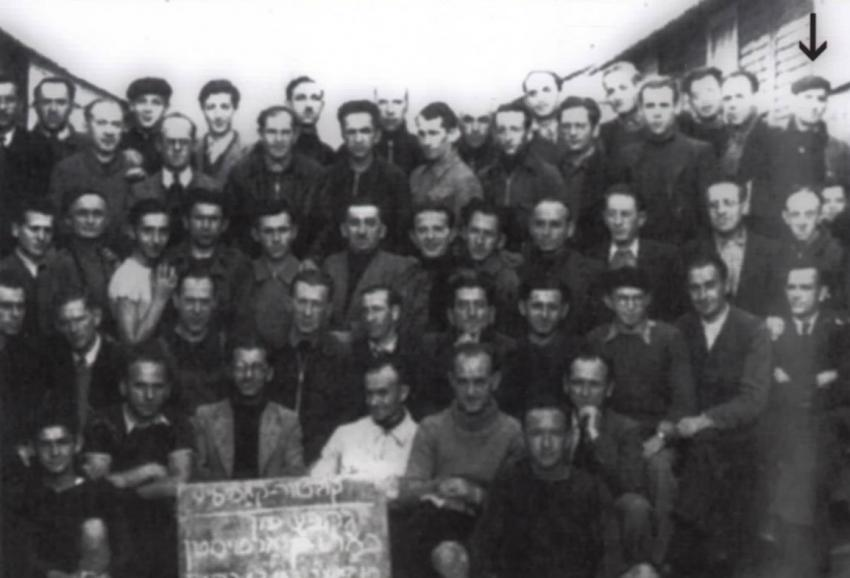 Hillel Uryn (standing first from right, top row) in the Beaune-la-Rolande camp, 1941