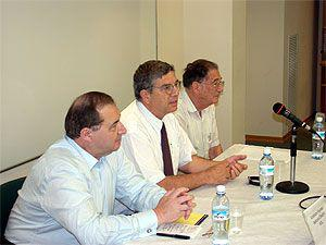 Left to right- Abraham Foxman, Avner Shalev and Prof. Yehuda Bauer during panel discussion