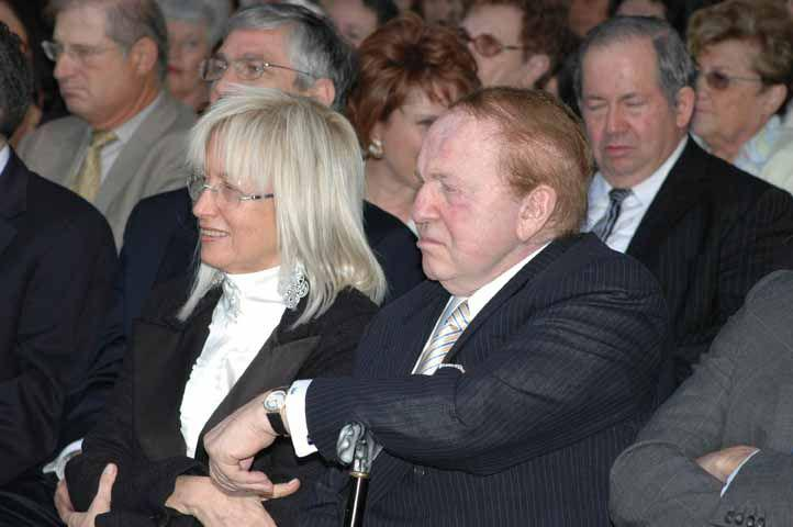 Dr. Miriam and Sheldon G. Adelson at the tribute ceremony held in their honor at Yad Vashem