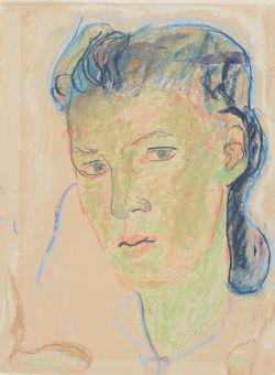 Charlotte Salomon's Self Portrait (Crayon on Paper) Collection of the Yad Vashem Art Museum