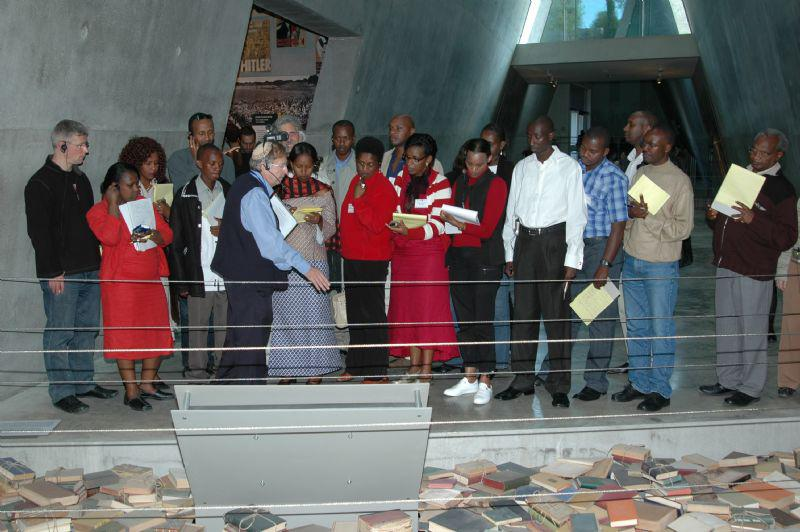 Survivors of the Rwandan genocide are taken on a guided tour of Yad Vashem's Holocaust History Museum