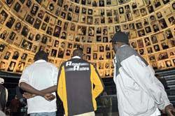 Sudanese refugees in the Hall of Names, Holocaust History Museum, Yad Vashem.