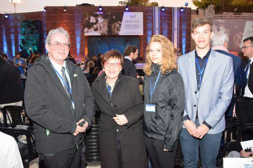 Chairman of the Friends of Yad Vashem in Austria, Mr. Guenther Schuster, together with Mrs. Ullie Schuster, Julia Schuster and Lucas Schuster, attending the State Opening Ceremony for Holocaust Martyrs' and Heroes' Remembrance Day 2016.