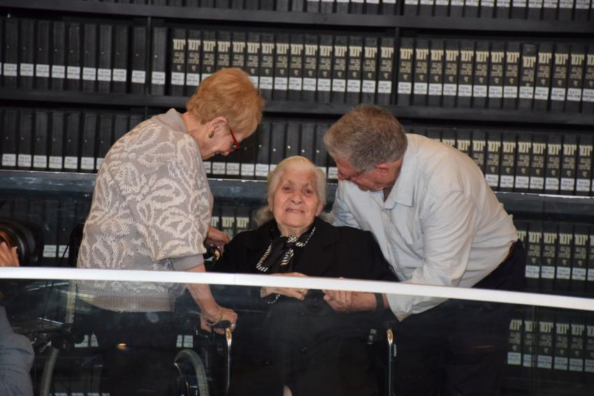Holocaust survivors Sarah Yanai and Yossi Mor reunite at Yad Vashem with Melpomeni Dina, one of their wartime rescuers who was recognized by Yad Vashem as Righteous Among the Nations