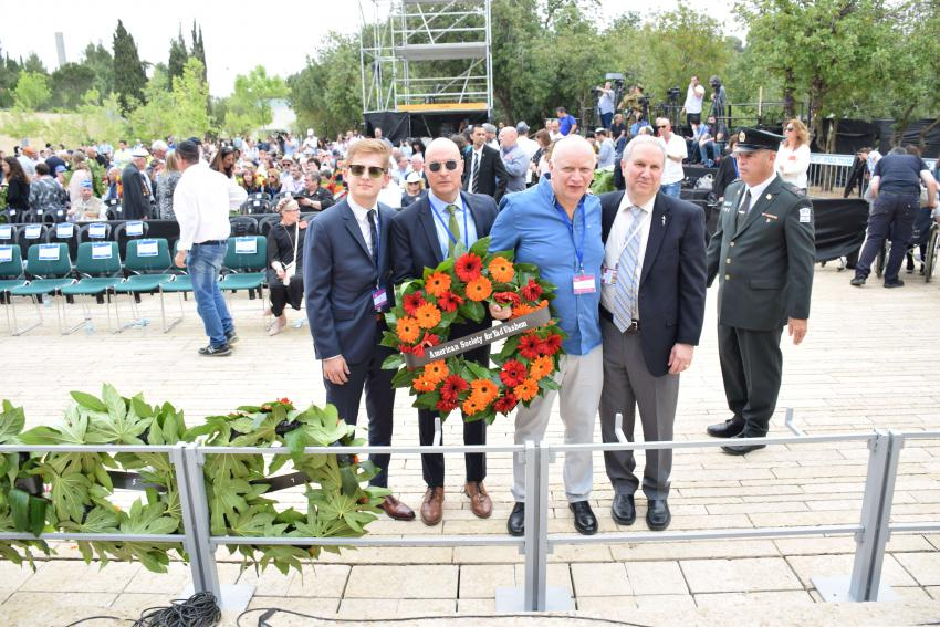 Jonah Burian, Mark Moskowitz, Murry Zborowski, and Ron Meier lay a wreath on behalf of the American Society for Yad Vashem