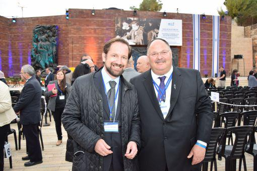 Dr. Michael Borchard. Head of the Konrad Adenauer Stiftung office in Israel and Shaya Ben Yehuda, Managing Director of the Yad Vashem International Relations Division, attending the State Opening Ceremony for Holocaust Martyrs' and Heroes' Remembrance Day