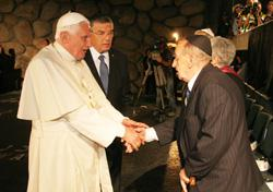 Ivan Vranetic meets Pope Benedict XVI at Yad Vashem, May 11, 2009.  In the background is Avner Shalev, Chairman of Yad Vashem.