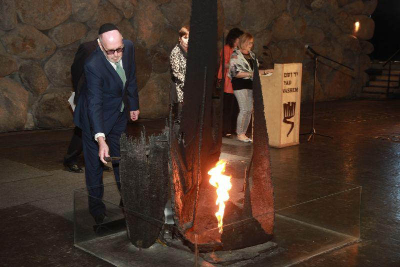 Anthonie Vink, son and grandson of the Righteous, was honored to rekindle the Eternal Flame during a memorial ceremony held in the Hall of Remembrance