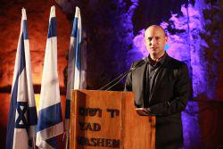 Israel's Education Minister Naftali Bennett addresses the closing event of the Yad Vashem Leadership Mission in the Valley of the Communities, Yad Vashem