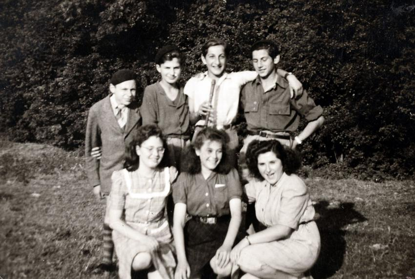 Ephraim Jackont (top row, second from right) with friends at the Marquain children's home in Belgium, after the war