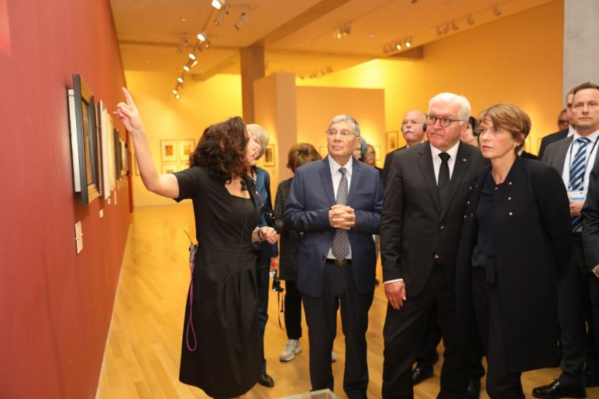 Director of the Art Department and Art Curator Eliad Moreh-Rosenberg guided the President of Germany, Frank-Walter Steinmeier, through the Museum of Holocaust Art, where some 120 artworks created during or immediately after the Holocaust are on permanent