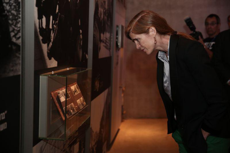 Ambassador Power toured the Holocaust History Museum, paying special attention to the personal stories of the victims and survivors