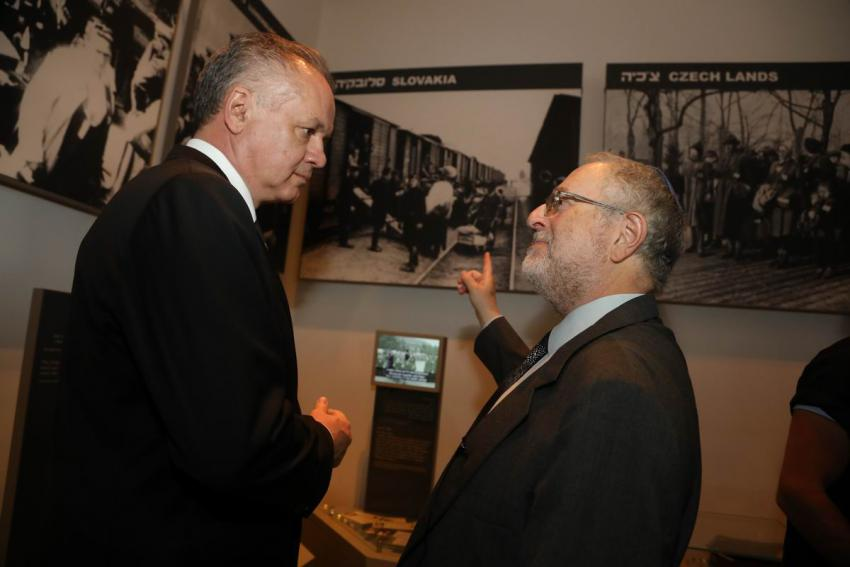 Dr. Robert Rozett (right), Director of Yad Vashem's Libraries, guided the President of the Slovak Republic, Andrej Kiska, through the Holocaust History Museum, which includes a display on anti-Jewish acts in a number of European countries during WWII, inc