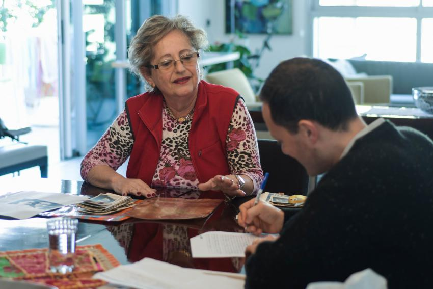 Helen Lazar (née Bornstein) donating her parents' precious letter to Yad Vashem, 2019