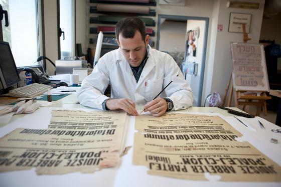 Conservation laboratory at the Yad Vashem Archives